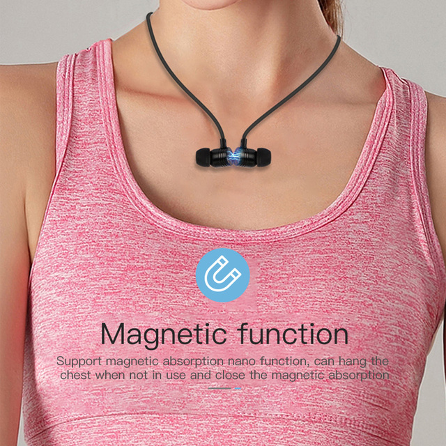 4.2Bluetooth Earphone Sports Neckband Magnetic Wireless Headset Stereo Earbuds Music Metal Headphones With Mic For All Phones