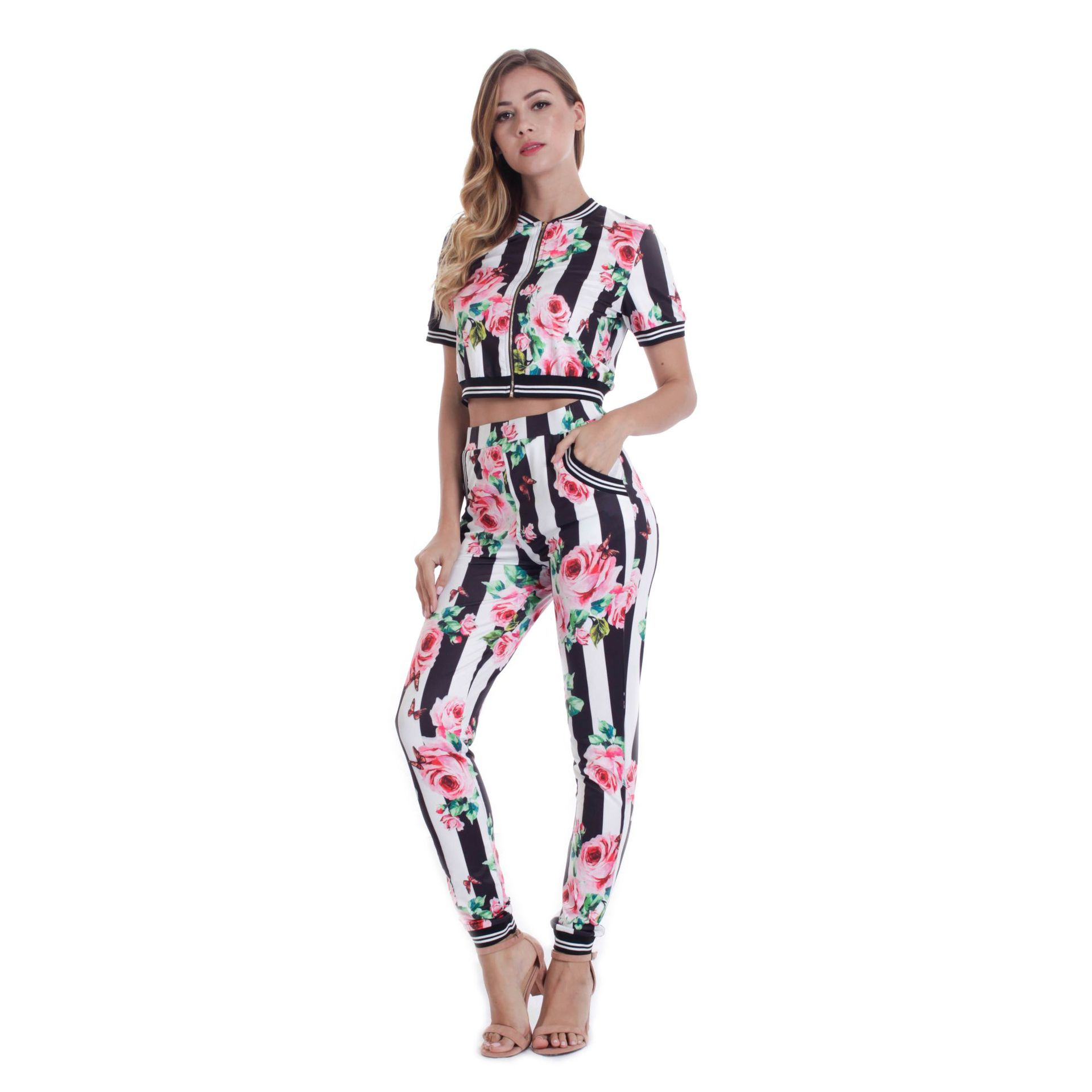 Summer And Autumn New Style Casual Slim Fit Printed Sports Clothing Set Bohemian Zipper Short Sleeve Pants Set