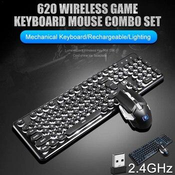 2400 Dpi Draadloze Oplaadbare Gaming Mechanische Toetsenbord 104 Toetsen Backlit Waterdichte Muis Combo Voor Xinmen K620, Ergonomische