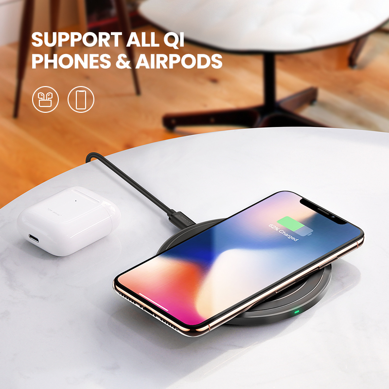 Ugreen Wireless Charger for iPhone 11 X Xs Xr 8 10W Qi Fast Wireless Charging Pad