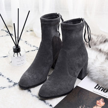 Elastic Ankle Boots New Women Lace-up Pointed Toe Square Heels Autumn/Winter Y795