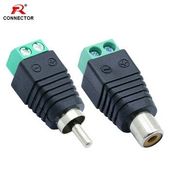 2pcs RCA AV Balun Terminal Connector, 2 pólos, RCA Macho Plug & RCA Fêmea Jack AV Terminal