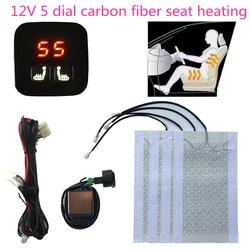 2 asientos 4 almohadillas Universal de fibra de carbono asiento calentador 12V de 2 Dial 5 dígito de LCD interruptor invierno asiento calentador cubre banco