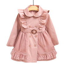Hot 2-12Y Children Jackets Trench Coats For Girls Brand Jackets Coats Cute Lace