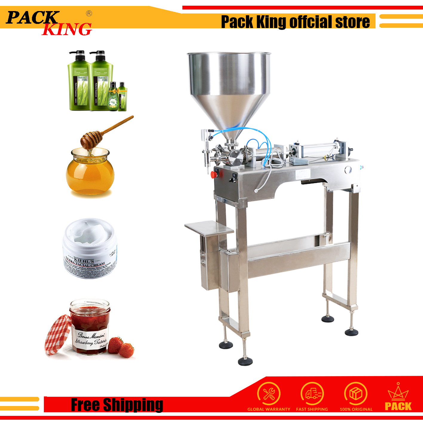 Shampoo Lotion Cream Yoghourt Honey Juice Sauce Gel Filler Paste Filling Machine Pneumatic Piston Filler With Standing & Table