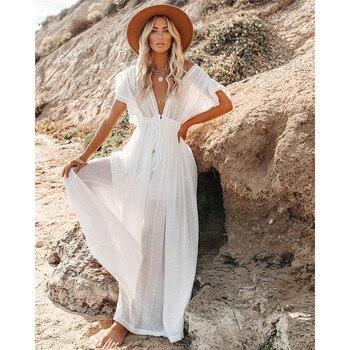 Women Swimsuit Cover Ups Mandarin Sleeve Kaftan Beach Tunic Dress Robe De Plage Solid White Pareo Beach Cover-ups