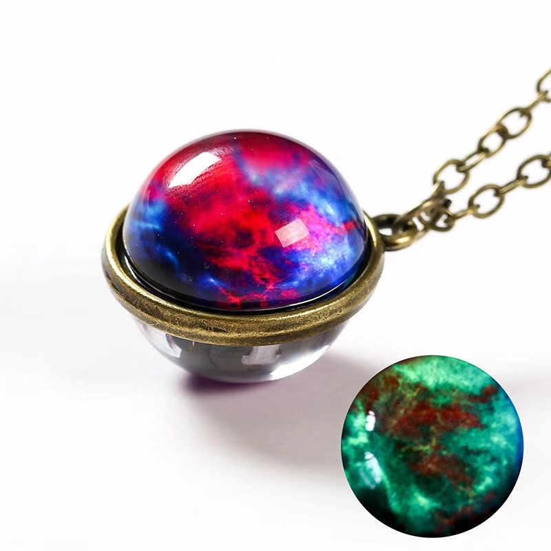 Nébuleuse galaxie Noctilucent Double face pendentif collier verre Art photo à la main déclaration univers planète bijoux pour les femmes