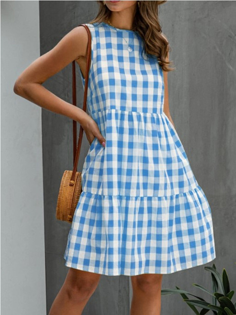 American Style Women Summer New Fashion Sleeveless Classical Simple Basic Vintage Plaid Patchwork Round Neck Casual Sweet Dress 2