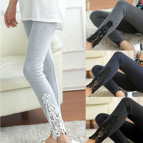 New 4 Colors Stretch Jeggings Fashion Women Ladies Lace Crochet Sexy Skinny Leggings