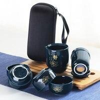 Hohe Guality Chinesischen Porzellan Tee Set Tragbare Tee Tassen Für Reise mit Tragbare Tasche Reise Tee Set Keramik Flasche Für outdoor|Teegeschirr-Sets|Heim und Garten -