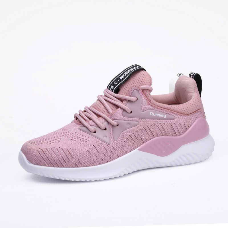 Hoge Kwaliteit Sneakers Vrouwen Roze Sport Vrouwen Schoenen Big Size Comfortabele Vrouwen Platte Schoenen Casual Ademende Lichtgewicht Schoeisel