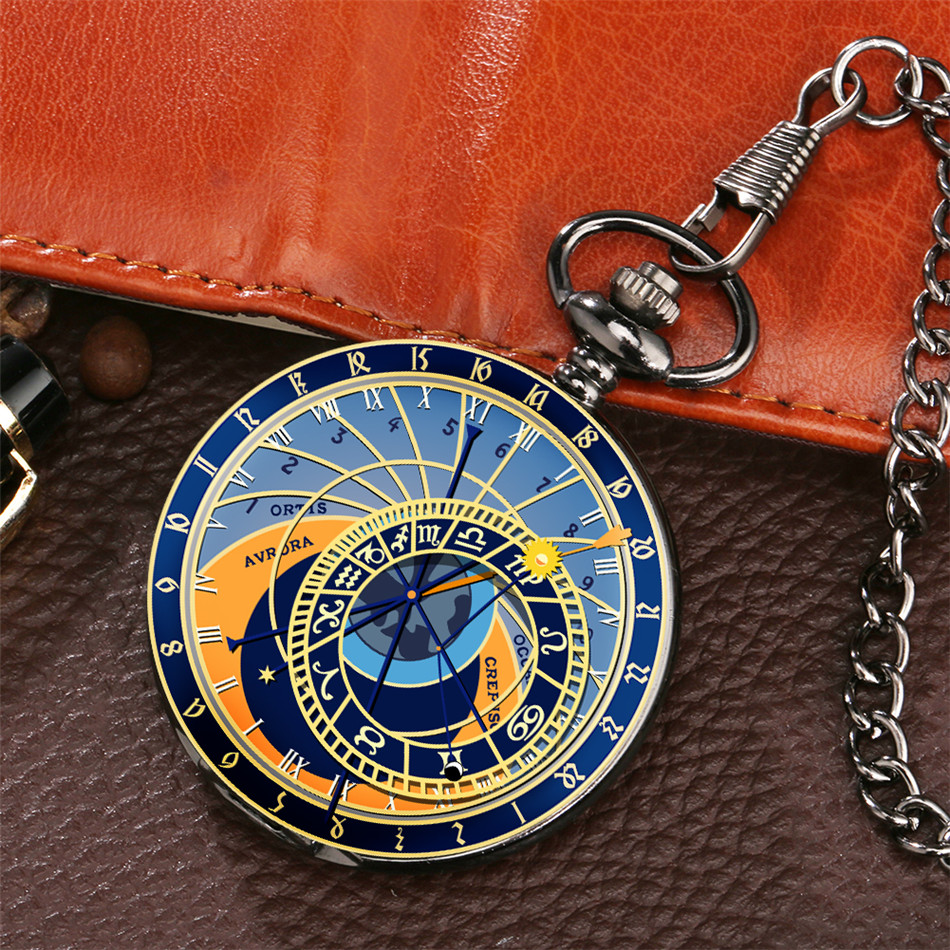 Zodiac Sign Astronomy Display Quartz Pocket Watch Smooth Black Full Hunter Fob Pendant Clock Gifts Men Women Kids