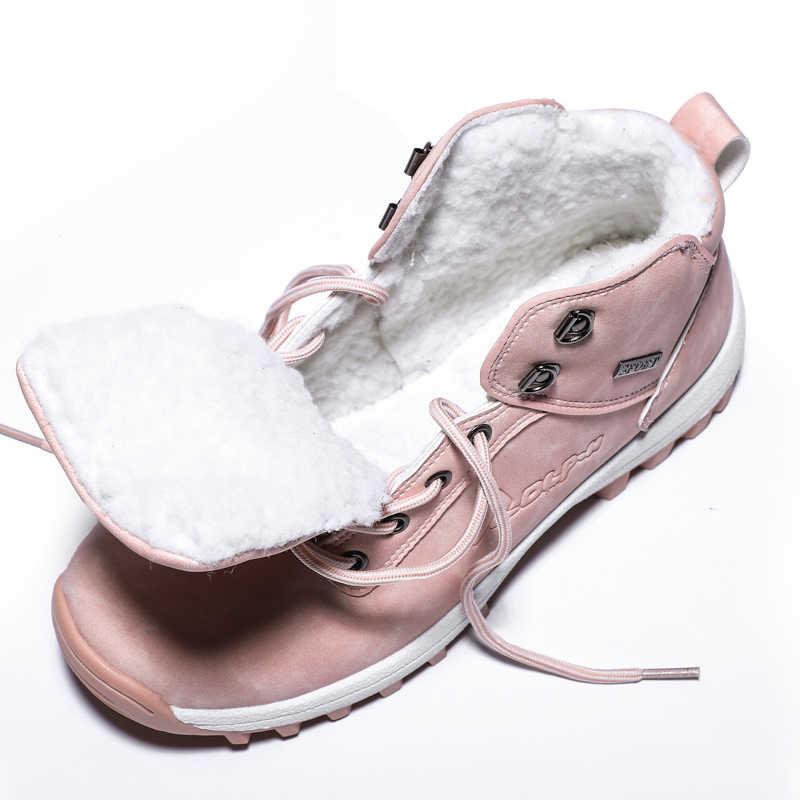 TUINANLEผู้หญิงข้อเท้าหิมะBOOTฤดูหนาวWARM Plush WedgesยางPlatform Faux Suede Lace Upเซ็กซี่สีชมพูสุภาพสตรีรองเท้าBotas mujer
