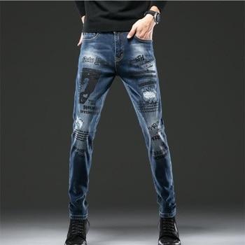 New Jeans men Letter Printed slim fit Blue 100% Cotton Denim Men Jeans High Quality Fashion Classic Denim Pants #9121