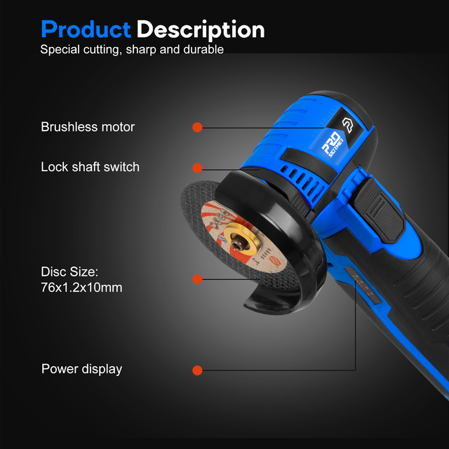 12V Mini Brushless Angle Grinder Cordless Polishing Grinding Machine 2.0mAh 19500RPM Electric Power Tools for home by PROSTORMER 3