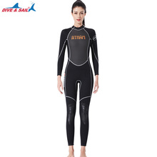Women's Diving Suit 3mm One Piece Neoprene Long-sleeved Full Body Wetsuit High Elastic Warm Surf Surfing Snorkeling Swimwear new scr neoprene 3mm camouflage one piece diving suit surf suit warm waterproof wetsuit for male size s xxl