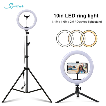 Camera Photo 26cm/10in Circle Light Ring Dimmable LED Selfie USB Lumiere For Tiktok Makeup Video Studio Light With Tripod Stand
