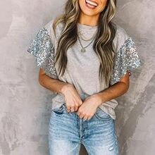 T-shirty Damskie t-shirty graficzne moda damska solidne łączenie cekiny luźna koszulka z krótkim rękawem O-neck Top t-shirty Damskie