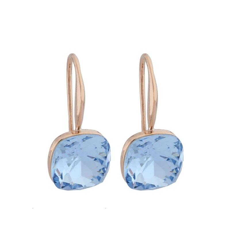 Новые модные серьги для женщин серьги-капли 585 розовое золото квадратные синие Серьги Свадебная вечеринка Милая бижутерия 2021