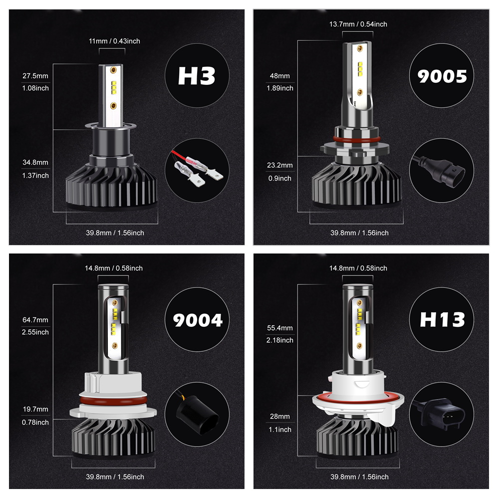 Image 4 - Infitary H4 H7 Led Headlight Bulbs 80W H1 H3 H8 H11 H13 9005 HB3 9006 HB4 ZES Chips 16000LM 6500K 12V Lamp Car Auto Fog LightCar Headlight Bulbs(LED)   -