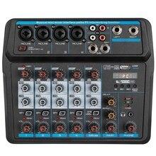 M-6 Tragbare Mini Mixer Audio DJ Konsole mit Soundkarte, USB, 48V Phantom Power für PC Aufnahme Singen Webcast Party (Us-stecker)