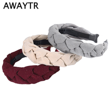 AWAYTR Solid Color Knot Braid Headband for Women Shining Fabric Hair Loop Ladies Fashion Bezel Headwear Female Accessories