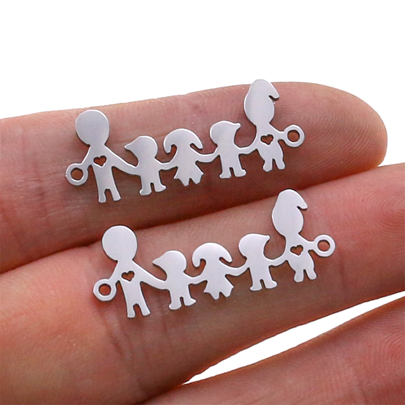 5pcs Family Chain Stainless Steel Pendant Necklace Parents and Children Necklaces Gold/steel Jewelry Gift for Mom Dad New Twice - Цвет: Steel 46