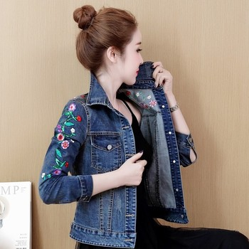 Embroidered Short jeans coats women Print Embroidery Demin Jacket Casual Turndown collar Female Streetwear jackets femme 2019 цена 2017