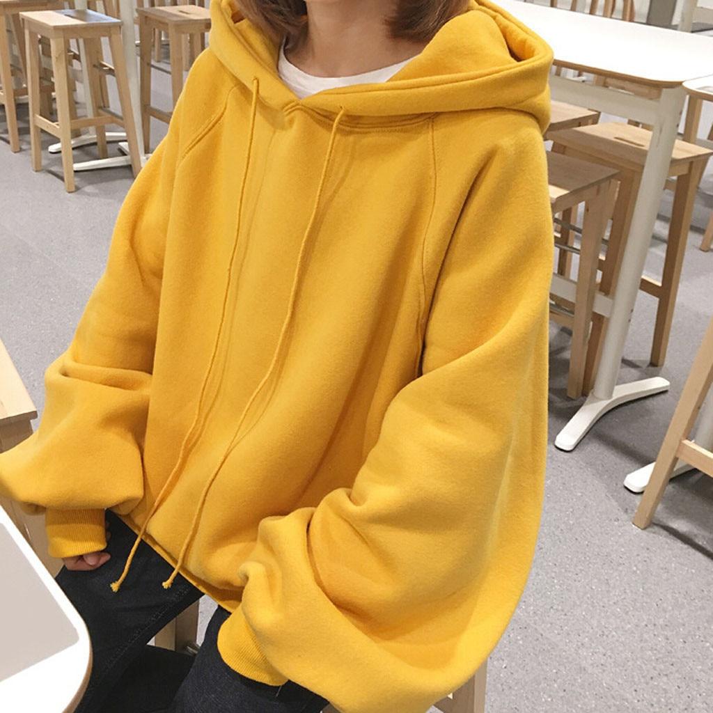 Women Solid Sweatshirt Loose Casual Solid Color Hooded Lantern Sleeves Sweatershirt Pullover Hoodie Tops Winter Hoodies Female