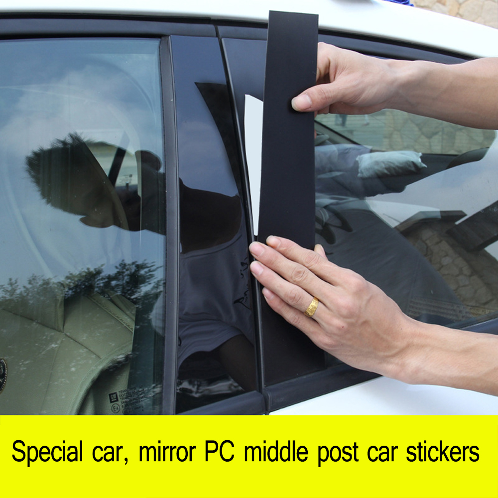 LEEPEE 1 set Center Column Window Decorative Strip for Honda Civic Series 8 9 10 Generations B-pillar Modified Car Sticker