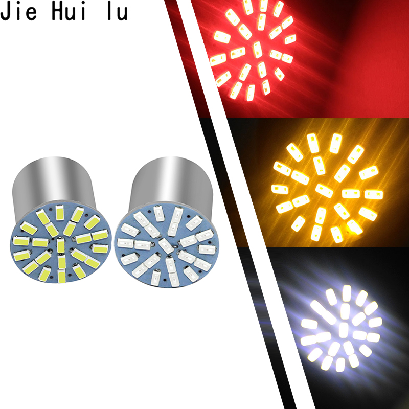 New Outdoor Lights 100 pcs Car Styling Lamp 1157 1156 Ba15s 22 Led 3014 22smd Led Light Inverted Turn Signal Brake light led-in Signal Lamp from Automobiles & Motorcycles