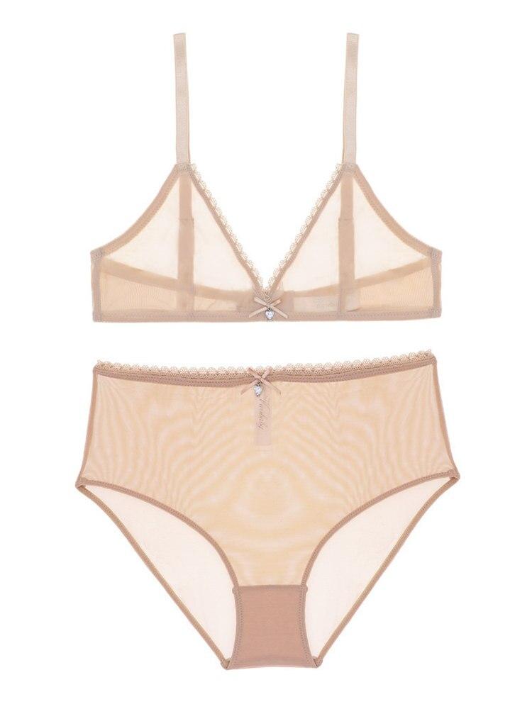 Varsbaby Bra-Set Panties Underwear See-Through Transparent Sexy Unlined Breathable High-Waist