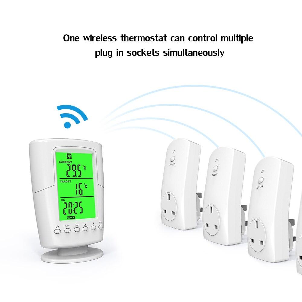 Controlador de temperatura pantalla LCD digital Toma de corriente el/éctrica Modo de calefacci/ón ajustable Termostato de calefacci/ón inal/ámbrico RF Controlador de temperatura para sistema