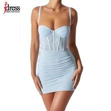 Женский сексуальный корсет iDress с низким вырезом, мини-платье, модная сетчатая Женская одежда, однотонное летнее уличное платье для детской ...