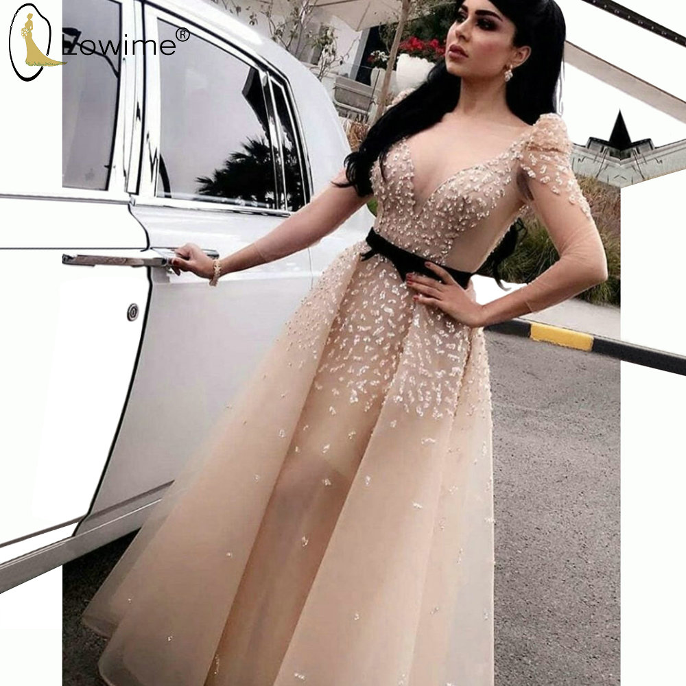Light Champagne Long Sleeve Evening Dresses Sexy Deep V Neck Beaded Formal Dress For Party Saudi Arabia Robes Vestido De Soiree