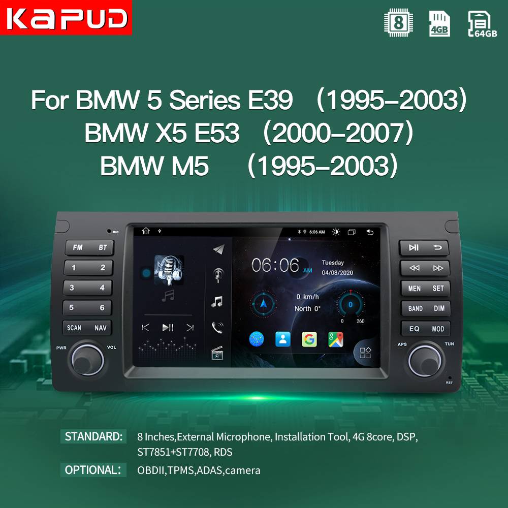"""Kapud 4G Android 10.0 Car Multimedia Player 8"""" Navigation For BMW For Bmw X5 E53/5 Series E39/M5 Radio Stereo BT GPS Wifi DSP