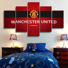 5 Pieces Manchester United Flag Wall Canvas Paintings Art Prints Pictures Sports Football Posters Fans Bedroom Decor Framed