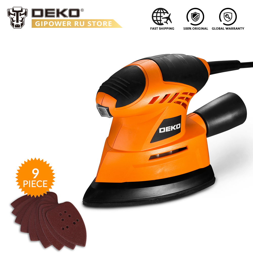 DEKO 2019 NEW Mouse Sander  Dust Exhaust Mouse Sander For Wood Working Home DIY  Easy To Use With 9 Sheets Of Sandpaper