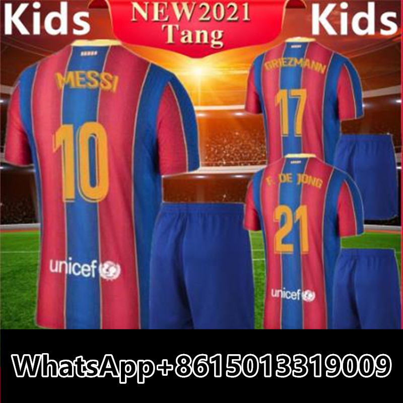 2020 2021 Barcelonaes Soccer Jersey 20 21 Ansu Fati Messi Griezmann Shirt Camiseta Barcaes Football Kids Kit T Shirts Aliexpress