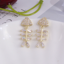 Karopel Fashion fish bone asymmetry earrings  cubic zirconia female popular stud for women