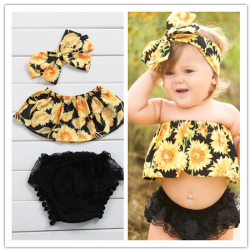 Newborn Toddler Baby Girls Clothes Set Off Shoulder Tops + Black Lace shorts + Headband 3pcs Outfits Set Sunsuit Baby Clothing