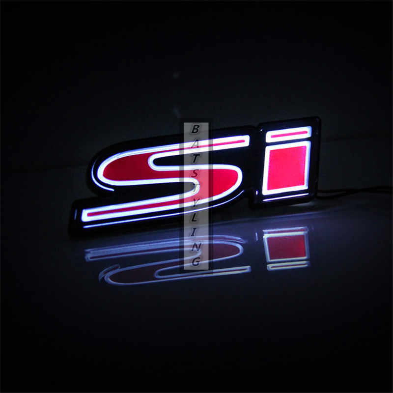 1X LED גריל סמל מדבקה עבור טויוטה TRD עבור BMW M עבור הונדה RS Si זוהר תג למעלה איכות אקריליק לוגו רכב אבזרים