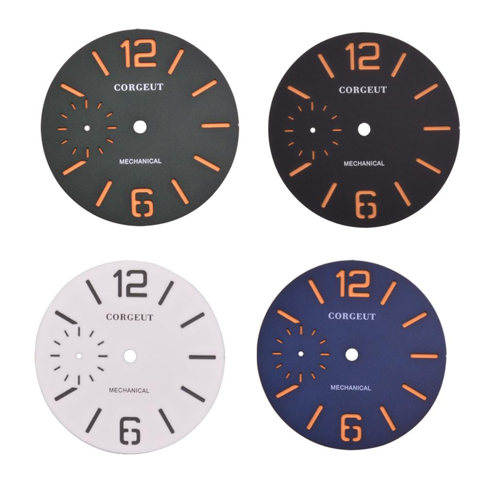 38.5mm Corgeut Black / blue / green / white sandwich Dial Orange number scale Fit ETA 6497 <font><b>ST3600</b></font> movement image