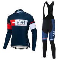 2019 wiosna jesień pro team IAM jazda na rowerze zestawy jersey męskie z długim rękawem jazda na rowerze tkanina MTB jazda na rowerze odzież rowerowa 19D żel pad