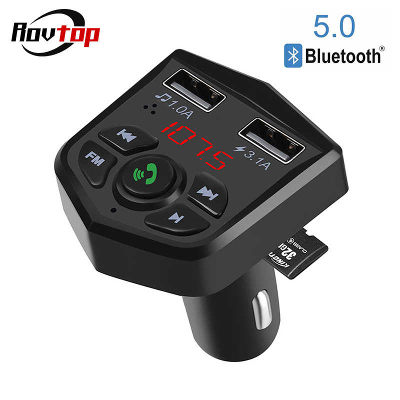 Bluetooth 5.0 voiture Kit mains libres sans fil Bluetooth FM transmetteur voiture lecteur MP3 3.1A charge rapide double USB chargeur TF carte Z2