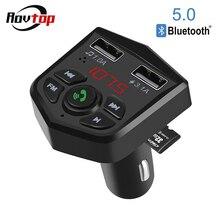 بلوتوث 5.0 سيارة عدة يدوي سماعة لاسلكية تعمل بالبلوتوث جهاز إرسال موجات FM للسيارة مشغل MP3 3.1A شحن سريع شاحن USB مزدوج TF بطاقة Z2