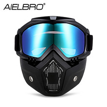 AIELBRO Men Women Windproof Snowboard Goggles Skiing Glasses Motocross Glass With Face Mask Protection Gear UV