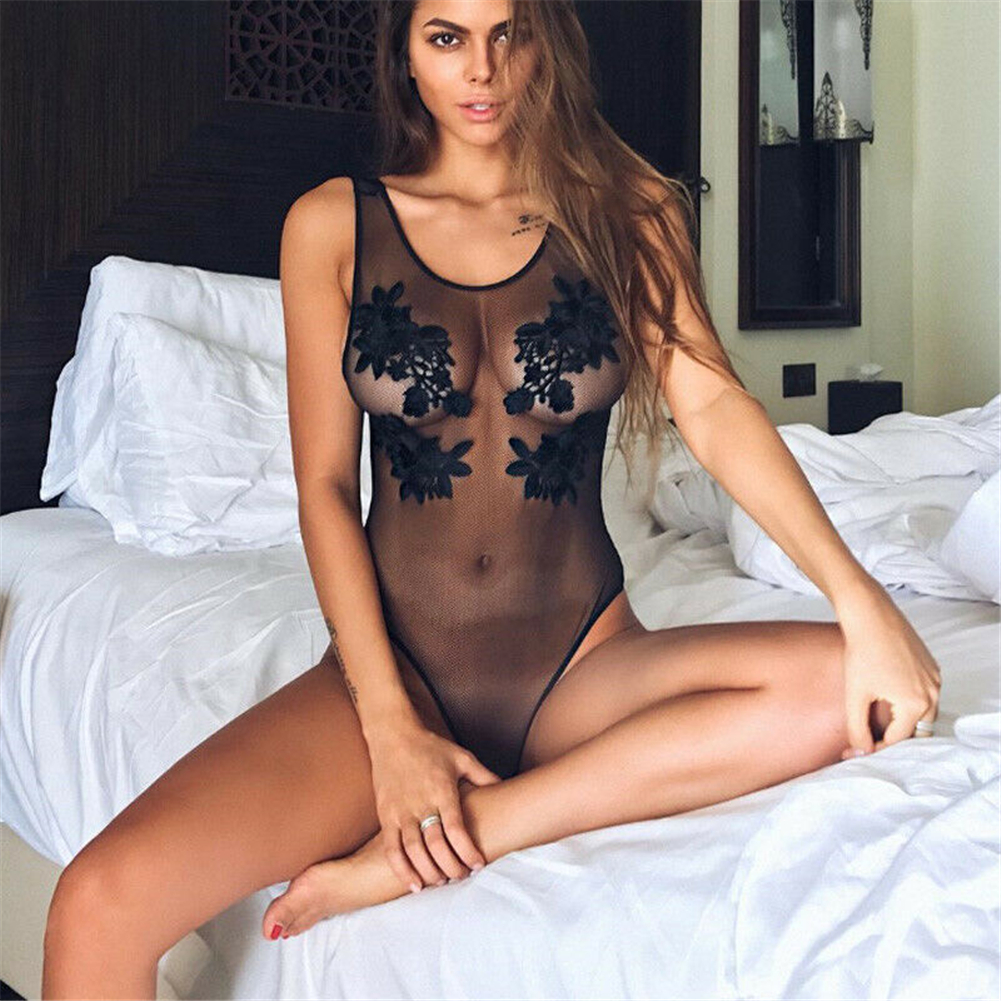 Sexy Bodysuit Women 2019  Floral Embroidery Hollow Out Lace Bodysuit Black Jumpsuit Summer Overalls