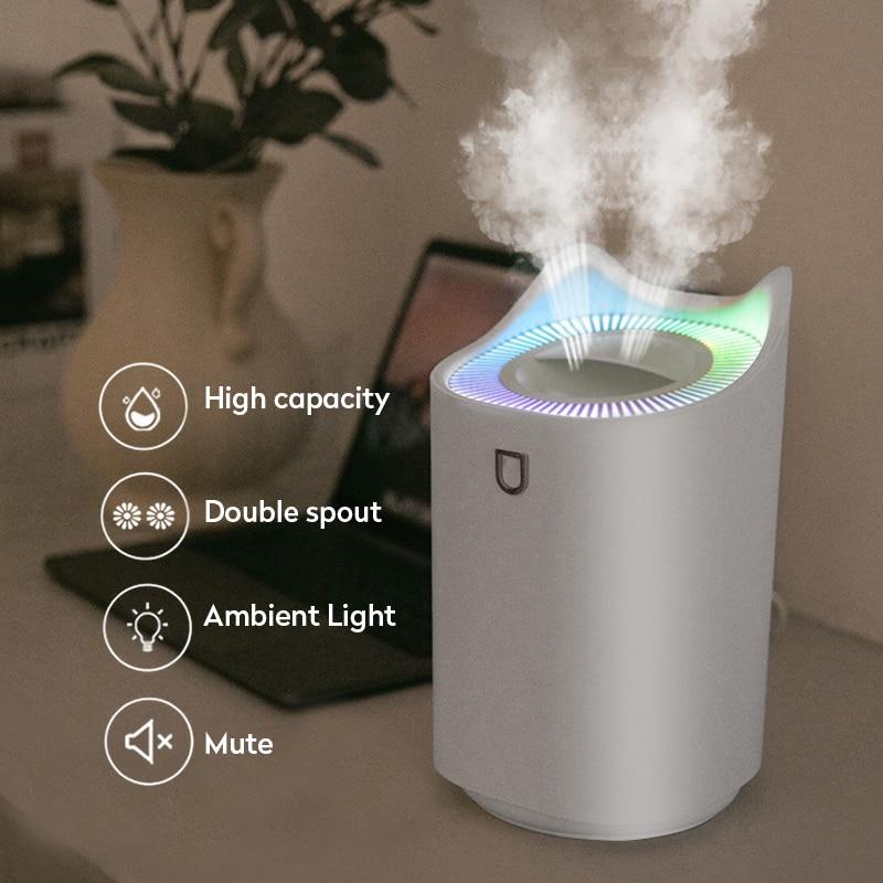3L увлажнитель воздуха Эфирное масло Арома-диффузор с двумя отверстиями, с цветным светодиодный светильник ультразвуковые увлажнители возд...