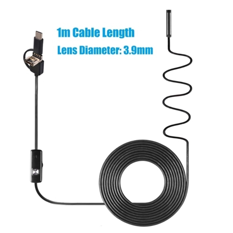 3-In-1 Industrial Endoscope Borescope Inspection Camera Built-in 6 LEDs IP67 Waterproof USB Type-C Endoscope For Android Smartph